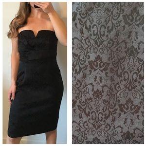 WHBM Black Floral Sweetheart Strapless Dress 10